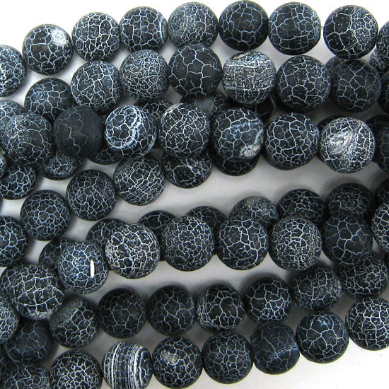 "12mm matte black fire agate round beads 15"" strand"