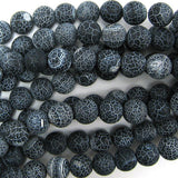 12mm matte black fire agate round beads 15