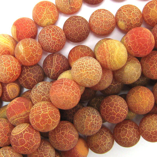 "14mm frost fire agate round beads 7.5"" strand orange"