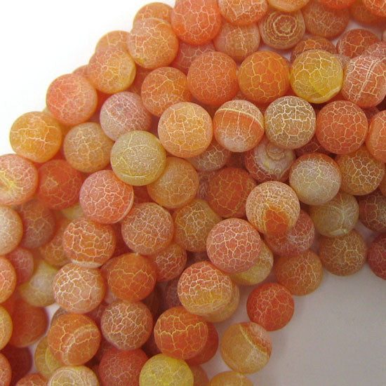 "10mm frost fire agate round beads 15"" strand orange"