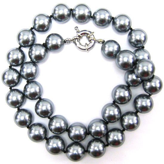 12mm grey shell pearl round beads necklace 18""