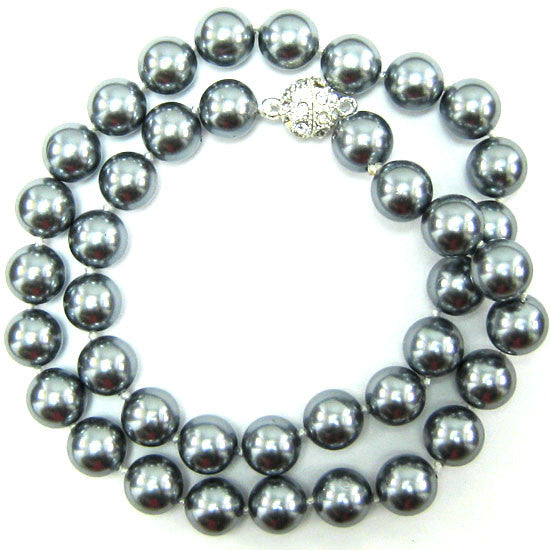 10mm grey shell pearl round beads necklace 18""