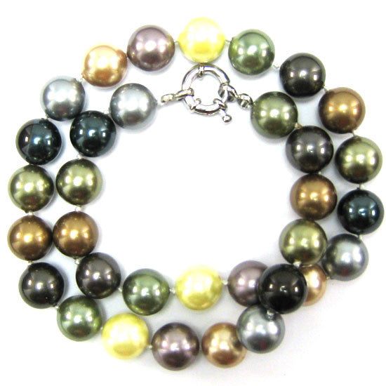 "12mm multicolor shell pearl round beads necklace 18"" S3"
