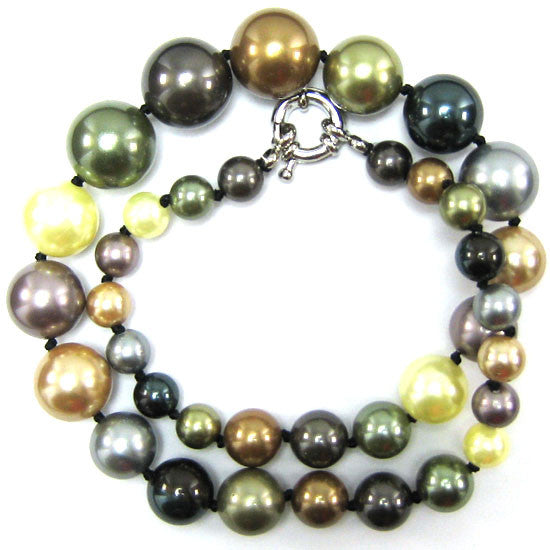 8-16mm multicolor shell pearl round beads necklace 18""