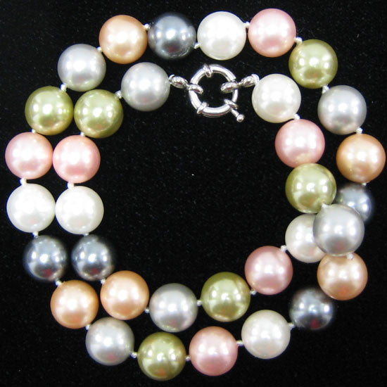 "12mm multicolor shell pearl round beads necklace 18"" S1"