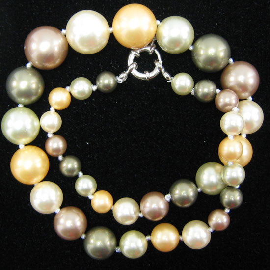 "8-16mm multicolor shell pearl round beads necklace 18"" S1"