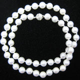8mm rainbow white shell pearl round beads necklace 18