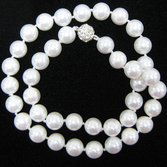 10mm rainbow white shell pearl round beads necklace 18""