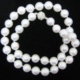 10mm rainbow white shell pearl round beads necklace 18