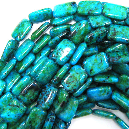 "18mm blue green azurite rectangle beads 16"" strand"