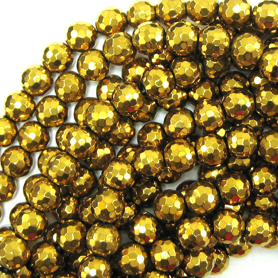 "12mm faceted gold plated hematite round beads 8"" strand"