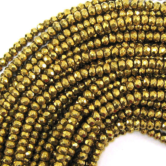 "4mm faceted coated gold agate rondelle beads 15.5"" strand"