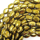 18mm coated gold agate flat oval beads 15.5