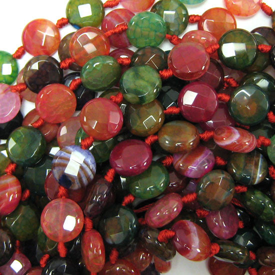 "14mm faceted multicolor agate coin beads 15"" strand"