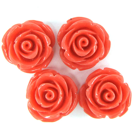 "20mm synthetic coral carved rose flower beads 15"" strand 20 pcs rose pink"