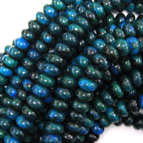 "10mm blue green azurite rondelle beads 16"" strand"