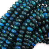 10mm blue green azurite rondelle beads 16
