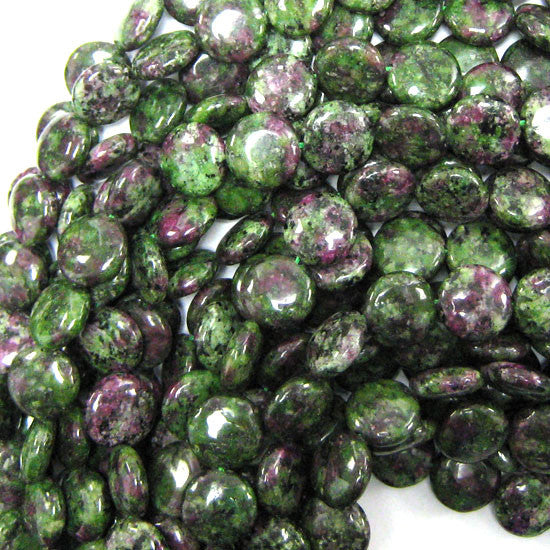 "12mm ruby zoisite jade coin beads 16"" strand"