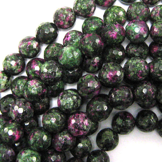 "12mm faceted ruby zoisite jade round beads 15.5"" strand"