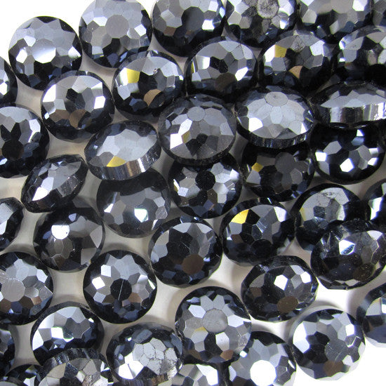 "13mm faceted crystal coin beads 8"" strand dark blue"