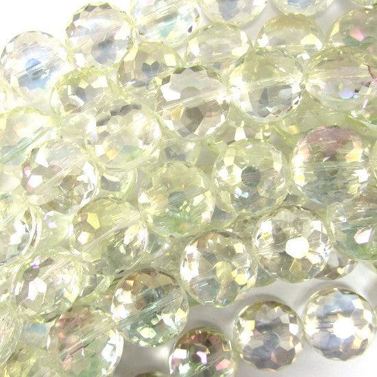 "13mm faceted crystal coin beads 8"" strand lemon"