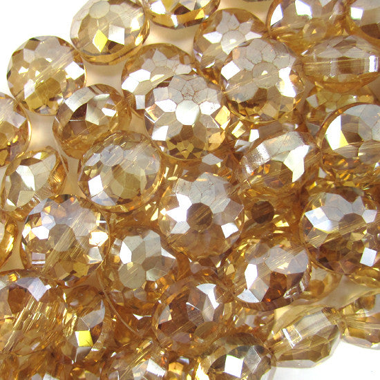 "13mm faceted crystal coin beads 8"" strand citrine"
