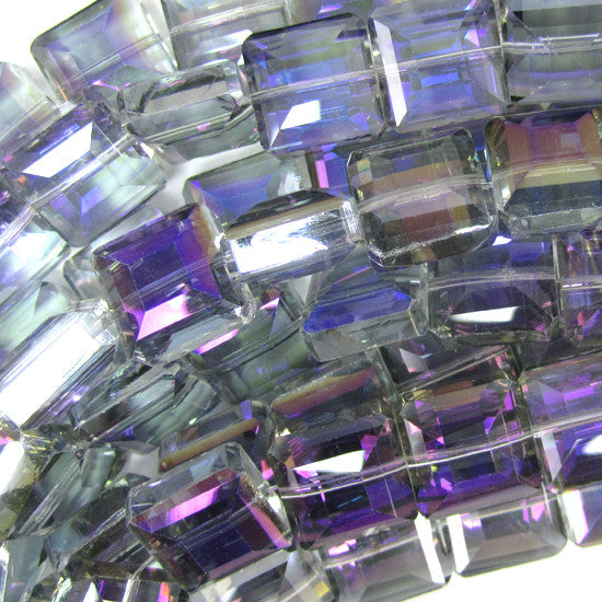 "13mm faceted crystal square beads 8"" strand rainbow grey"