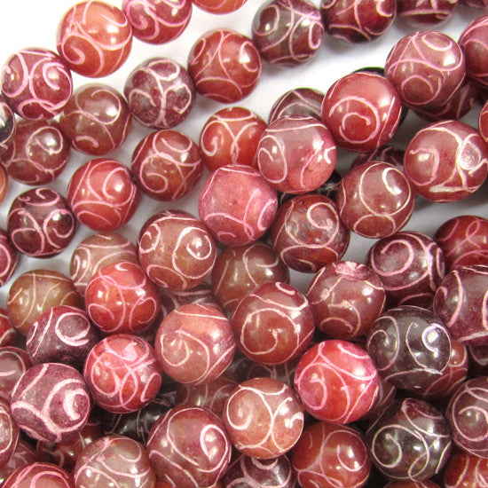 "8mm red brown jade carved round beads 7.5"" strand"