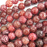 8mm red brown jade carved round beads 7.5