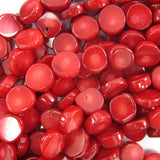 10mm red coral coin beads 16