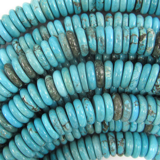 "10mm blue turquoise rondelle beads 7.5"" strand"