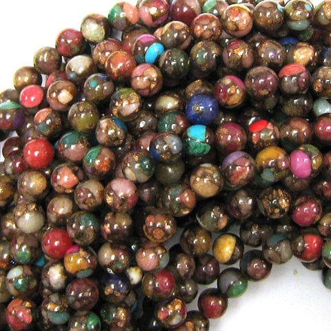 "6mm pressed jade round 15.5"" strand pink brown"