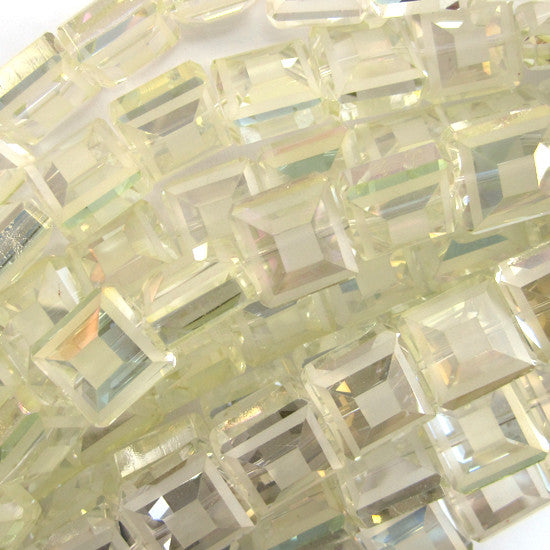 "13mm faceted frost crystal square beads 8"" strand light yellow"