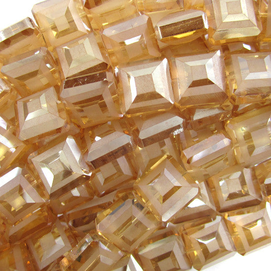 "13mm faceted frost crystal square beads 8"" strand citrine"