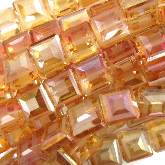 "13mm faceted frost crystal square beads 8"" strand brown"