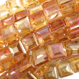 13mm faceted frost crystal square beads 8