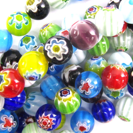 "10mm multicolor lampwork glass round beads 14"" strand"