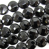 12mm faceted black onyx coin beads 15.5