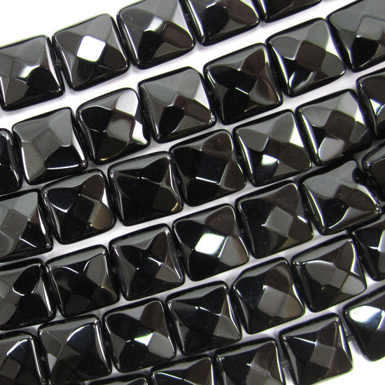 "10mm faceted black onyx flat square beads 15.5"" strand"
