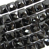 10mm faceted black onyx flat square beads 15.5