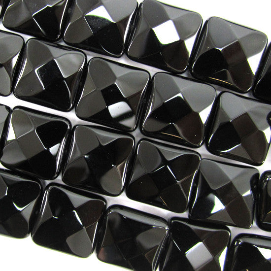"14mm faceted black onyx flat square beads 15.5"" strand"