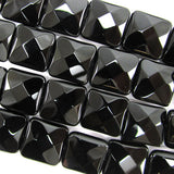14mm faceted black onyx flat square beads 15.5