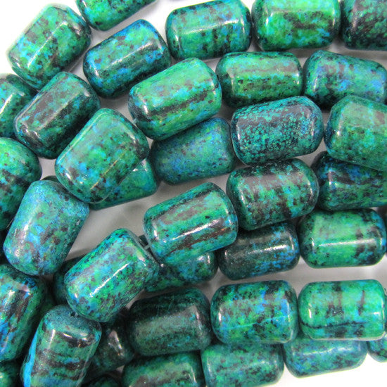 "14mm blue green azurite cylinder beads 16"" strand"