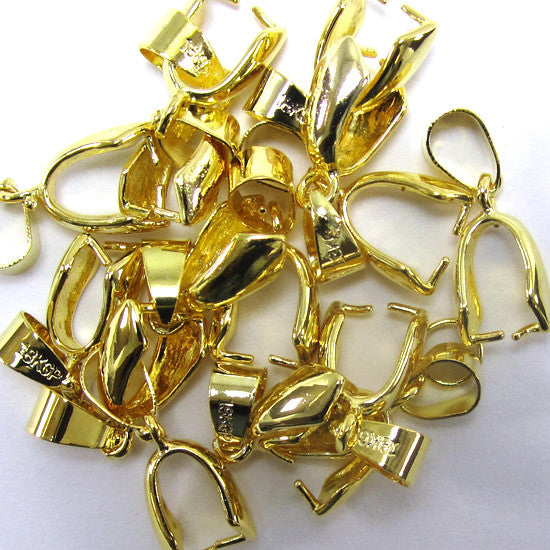 15 13mm gold plated metal bail findings