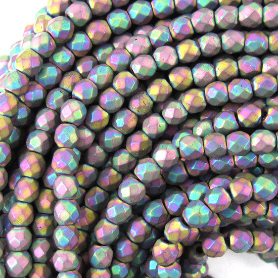 "4mm faceted matte hematite round beads 15.5"" strand rainbow color"