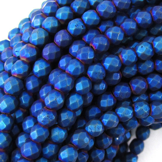 "4mm faceted matte hematite round beads 15.5"" strand blue color"