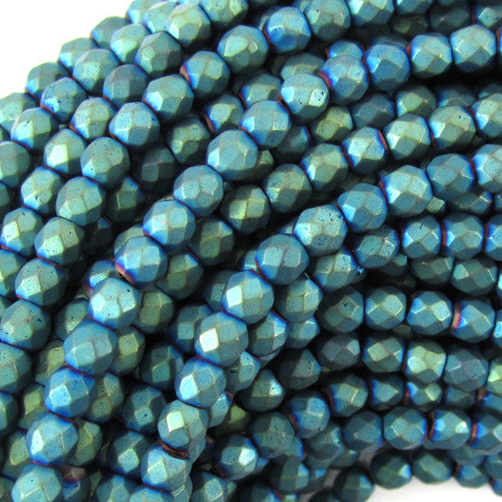 "4mm faceted matte hematite round beads 15.5"" strand green color"