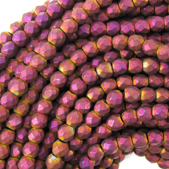 "4mm faceted matte hematite round beads 15.5"" strand purple color"