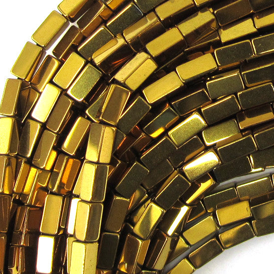 "4mm hematite side tube beads 16"" strand gold color"