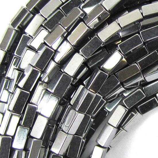 "4mm hematite side tube beads 16"" strand silver color"
